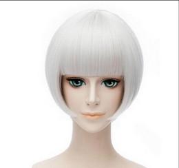 Perruque 1029 +++ Courte Droite Argent Blanc Ponytails Femmes Cosplay Party Perruques Complètes ? partir de fabricateur