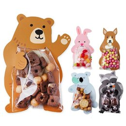 пластиковый мешок Скидка 10Pcs Cartoon Animal Bear Rabbit Card Candy Packaging Transparent Plastic Bag Wedding Party Decor Kids Birthday Shower #11010