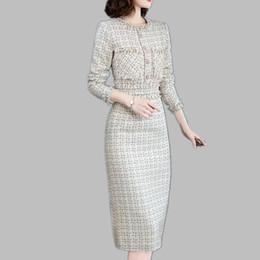 86b14286f08d 2019 chiffon invernale Luxury Designer Runway Dress 2019 Donna Autunno  Inverno Abiti manica lunga bordare plaid