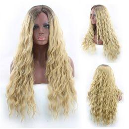 2019 парик цвет градиента Мода женский окрашенные химического волокна черного золота градиент цвета кукурузы длинные вьющиеся волосы парик набор jooyoo дешево парик цвет градиента