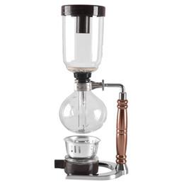 cafeteras Rebajas Eworld estilo japonés fabricante de té sifón olla de vacío cafetera de vidrio tipo de máquina de café filtro 3cups Q190604