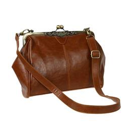цельные сумочки Скидка Retro Vintage Kiss Lock Imitation Leather Shoulder Purse Handbag Totes Bag Satchel-Dark Brown