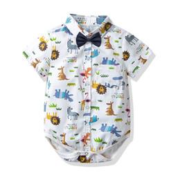 Verano bebé niño ropa bebé mameluco de algodón de dibujos animados Bebé Infant Boy diseñador de ropa recién nacido mameluco niño niño ropa mono A3137 desde fabricantes