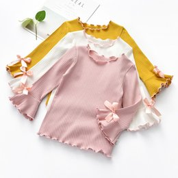 Spring Autumn Baby Girl Long-Sleeved knitting T-shirt Cotton Candy Color  Solid Color T-shirt Fashion Sweet Bow Clothe a2c58a90a