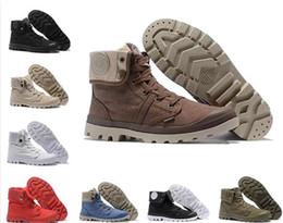 1d339949cb1 Vente chaude designer chaussures PALLADIUM Pallabrouse Hommes Haut-haut  Armée Bottines Militaires Toile Baskets Casual Chaussures Homme Chaussures  ...