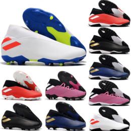2019 Nuovo arrivo Uomo Nemeziz 19.3 Laceless FG TF Scarpe da calcio Messi Chaussures Scarpe da calcio al coperto Scarpe Spedizione veloce Taglia 39 45