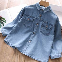 23fbd223f blusas de jeans de moda Rebajas Muchachas de la manera camisa de mezclilla  2019 Otoño niños