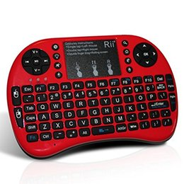 mini htpc tastiera senza fili touchpad Sconti Tastiera retroilluminata Touch Fly Air Mouse Cavo USB Portatile 2.4G Rii Mini i8 Tastiere wireless Combo Touchpad PC Scatola TV Android intelligente