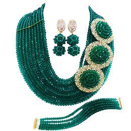 Чирок зеленый армия зеленый Африканский бисер комплект ювелирных изделий нигерийский свадебные аксессуары партия ожерелье браслет серьги 10SPH01 supplier teal earrings от Поставщики серебряные серьги