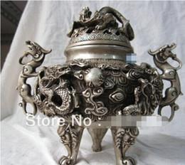 silberner weihrauchbrenner Rabatt Free Shipping100% von Chinas Tibet-Bronzestatue von Buddha Silver 9 Dragon Räuchergefäß