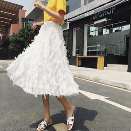Elegante saia de penas on-line-Chiffon penas borla saia por Mulheres cintura alta Chiffon Skirt Uma linha branca Midi elegante Magro Feminino Saias Womens LJ442