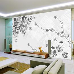 Tinta blanca china online-Papel pintado de pintura de tinta china 3D floral en el fondo blanco papel de parede sala de estar dormitorio hogar decoración de la pared