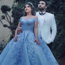 mejor vestido corto rojo Rebajas 2019 Vestidos de quinceañera azul claro fuera de los hombros de encaje apliques Bolas Vestido dulce 16 vestidos Formal Prom vestidos de noche robe de mariée