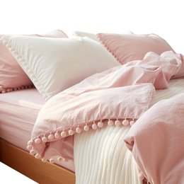 Palle decorative rosa online-2 3pc Pink Princess Bedding Sets with Washed Ball Decorative Microfiber Fabric Queen King Duvet Cover Pillowcase Comfortable