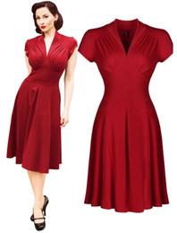 2019 knielänge jeanshemd kleid Damen Vintage-Stil Vintage 1940er Jahre Shirtwaist Trompete Abendkleid Kleid Swing Skater Prom Kleid