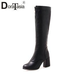 DoraTasia Plus Size 32-46 New Popular Zipper Decoration High Heels Shoes  Woman Casual Party Retro Winter Spring Mid Calf Boots discount high heels  ... 80a026e80a7b