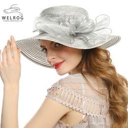 Cappello elegante estivo per le donne online-WELROG Pieghevole Sun Ultraviolet Hat Elegante Wide Brim Sombrero Estate Donna Moda Donna Bow Flower Caps Donna Beach Cappelli