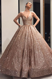 2019 vestido de noiva com vestido de bola Brilhantes em ouro rosa vestido de baile vestidos de casamento com bolsos querida Pavimento Length Puffy Big Modern não branco de noiva Couture Custom Made desconto vestido de noiva com vestido de bola