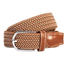 stretch belts for men Promo Codes - Canvas Braided Elastic Woven Leather Belt For Men Elastic Braided Waistband Men Stretch Waist Belt Wide Hot Metal Stretch