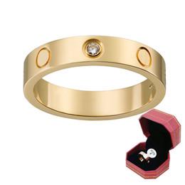 meninos do anel de casamento do ouro Desconto Mulheres 18 K Yellow Gold CZ Conjuntos de Diamante Anel de Casamento 925 de Prata Banhado A Ouro Rosa de Aço Inoxidável Meninos Meninas casais Anéis com caixa