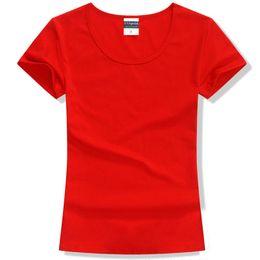 2019 marche coreane di abbigliamento femminile Maglietta Maglietta casual da donna Maglietta a maniche corte T-shirt in cotone tinta unita o-collo T-shirt moda coreana da donna Abbigliamento di marca marche coreane di abbigliamento femminile economici