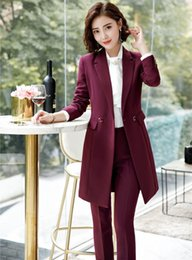 Стиль вина онлайн-Novelty Wine Uniforms Styles Female Pantsuits With Middle Long Blazers Coat And Pants For Business Women Pants Suits Fall Spring
