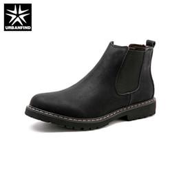 2019 tubo del cordón de los hombres URBANFIND Tamaño 38-45 Botas Chelsea Hombre Zapatos de invierno Botas de cuero de Split Negro Calzado para hombre Calzado de piel de felpa Invierno para hombres