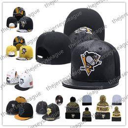 Pittsburgh Penguins Buz Hokeyi Örgü Kasketleri Nakış Ayarlanabilir Şapka Işlemeli Snapback Siyah Sarı Beyaz Dikişli Şapkalar Caps nereden buz küpeleri tedarikçiler
