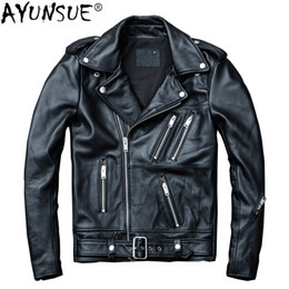 куртка индейцев Скидка AYUNSUE Cow Genuine Leather Jacket Men Short Sheepskin Coat Men Leather Jackets  Motorcycle Chaqueta Cuero Hombre KJ1916