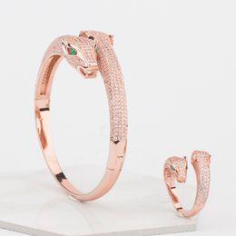 Gioielli di design da donna Braccialetti di lusso a due teste di leopardo Bracciale in oro rosa Donna Diamante Animali aperti Braccialetti con ciondoli Gioielli da sposa da