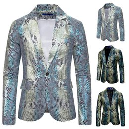 blazers patterns Promo Codes - Silver Snakeskin Pattern Male Fashion Cool Blazer Jacket Single Button Men's Party Dress Banquet Suit Coats Nightclub Style Wear