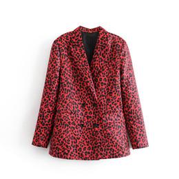 Красные дамские блейзеры онлайн-Женщины Животных Печати Leopard Red Blazer Куртка Пальто Двубортный С Карманами С Длинным Рукавом Верхняя Одежда Офис Леди Элегантный Одежда