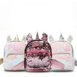 Zaini sequins online-Zaino unicorno di paillettes delle donne Sveglio mini borsa a tracolla del fumetto dei bambini Zaino all'aperto AAA1691 della scuola di viaggio sequined delle ragazze
