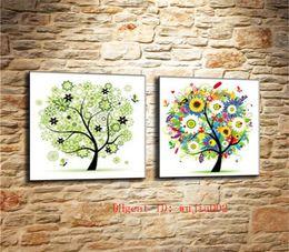 Moderne stagioni d'arte online-Four Seasons Trees-2, 2P Canvas Painting Living Room Home Decor Moderna pittura a olio di arte murale