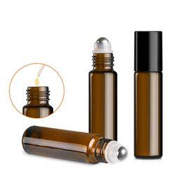 2019 bottiglie di vetro nera di dropper Amber Glass Roller Bottles 5ml Roller Balls per oli essenziali con sfere in acciaio inossidabile BPA Free Black Caps Droppers incluso sconti bottiglie di vetro nera di dropper