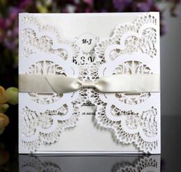 corte a laser livre Desconto 15 * 15 cm convites de casamento corte a Laser personalizável oco de cristal laço arco fita cartões de convite de casamento frete grátis WT042