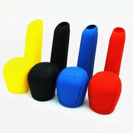 Cubierta de la caja de engranajes online-Universal Manual Car Silicone Gear Head Shift Knob Cover Collares de cambio de marchas Hand Brake Grip Car Handbrake Covers Case
