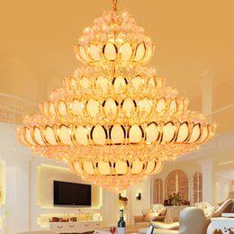 luz de teto pendente cool Desconto Luz CONDUZIU a Lâmpada Moderna Lustres de Cristal Luminária Lustre de Ouro Americano Templo de Flor de lótus Lâmpada Casa Villa Hotel Big Cristal Droplight