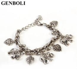 Éléphant en argent en Ligne-Mode Vintage Bracelet Éléphant et Coeur Bracelets Cuivre Plaqué Pendentif Bracelets Accessoire bijoux de mode