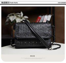 2019 dólar moda designer bolsas Moda Black Rock Crânio Saco Mulheres Messenger Bags Designer de Bolsa de Embreagem Bolsa Saco Bolsas Femininas Couro Dólar Preço dólar moda designer bolsas barato