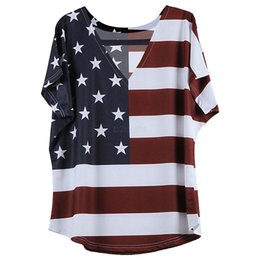 T-shirt americane online-Magliette donna USA American Flag Star a righe stampate con scollo a V Manica corta Summer Tops Independence Day 4th July Tees Girls LJJA2393