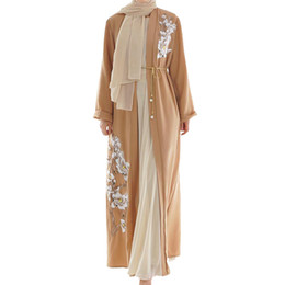 2019 vestito reale nobile donne dubai manica lunga collana Robe Vestito da donna musulmana maniche lunghe hijab abito arabo Medio Oriente delle donne di abaya 2019