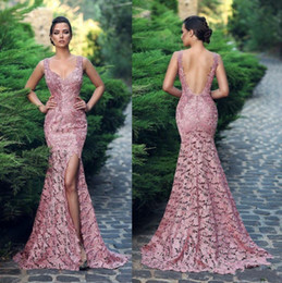 dusty rose black lace dresses Coupons - Dusty Rose Mermaid Lace Backless Prom Dresses 2019 V Neck Side Split Formal Full Lace Evening Gowns Floor Length Custom Made Celebrity Gowns