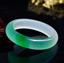 Braccialetti genuini di giada online-Jade Bangle all'ingrosso Genuine Myanmar Emerald Quartz Rock Jade Un tocco di braccialetto di giada verde