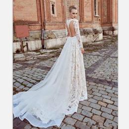 Profundo abierto v boda espalda vestido online-2018 vintage encaje blanco sirena vestidos de novia sexy espalda abierta profundo v cuello vestido nupcial tren desmontable mangas largas vestidos de novia
