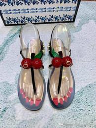2019 sandalias planas bohemias Sandalias de moda para mujer Sandalias Bohemian Sawberry Zapatillas Mujer Pisos Chanclas Zapatos Sandalias de playa de verano sandalias planas bohemias baratos