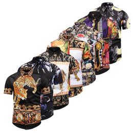 Motif spandex en Ligne-Nouveau Mens designer chemises 3D Or Floral imprimé léopard Mens Casual Dress Shirt Patterns Slim Fit Shirts Hommes Mode Business Shirts Vêtements