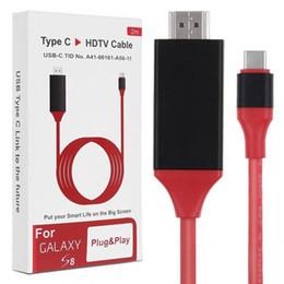 Câble macbook hdmi en Ligne-Câble adaptateur type C vers HDMI 4K 2K haute vitesse câble HDTV pour MacBook ChromeBook Pixel Galaxy S8 plus 200 cm avec la vente au détail