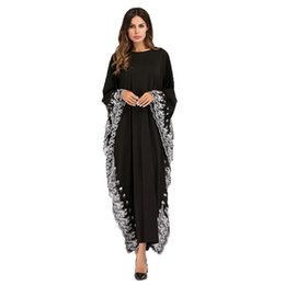 2019 модели абаи Black Big Sleeve Chiffon Anarkali Frocks Gowns White Lace Edge Decoration,New Model Abaya in Dubai Wholesale  Clothing дешево модели абаи