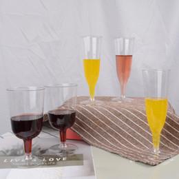 Plastikhochzeitsgläser online-2 Größe 125 ml 200 ml Einweg Plastikbecher für Wein Champagner Gläser Cocktail Picknick Geschirr Hochzeit Party Cup